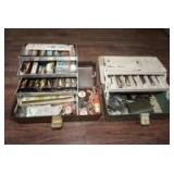 PAIR OF VINTAGE TACKLE BOXES IN CONTENT INCLUDING ALLEN WRENCHES AND FISHING TACKLE