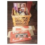 MILK CRATE FILLED WITH CURIOSITIES INCLUDING STERNO COOK STOVE IN ORIGINAL BOX, HARLEY-DAVIDSON MOTORCYCLE PLUSH, DONALD DUCK