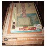 VINTAGE GAMES INCLUDING MONOPOLY, SPORTS ILLUSTRATED BASEBALL, AND TUDOR ELECTRIC HORSE RACE AND CAR RACE GAMES