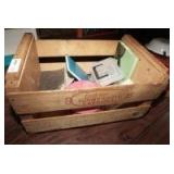 FRESH CAROLINA PEACHES CRATE AND CONTENTS INCLUDING MID-CENTURY FABRIC, DOMINOES, VINTAGE HAT BOX, FORD MODEL T REPAIR MANUAL, AND MORE
