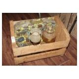 SUNNYSLOPE CAROLINA PEACH CRATE WITH ANTIQUE ELECTRIC AND OIL LAMPS PLUS RETRO BAG