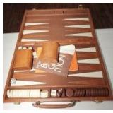 VINTAGE BACKGAMMON GAME IN LEATHER CASE
