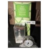 CRYSTAL CLOCK, CRYSTAL DINNER BELL, AND AVON BATH GARDEN HANGING PLANTER IN ORIGINAL BOX
