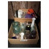 TWO BOXES OF VINTAGE AND ANTIQUE BOTTLES, MUGS, AND MORE