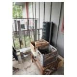 ALL ITEMS IN CORNER MARKED 4013 INCLUDING TOOLS, VINTAGE SHOE SHINE KIT, ANTIQUE MILK CRATE, SIDE TABLE, ANIMAL CAGES, AND MORE