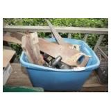 TUB FILLED WITH HAND SAWS, BLACK & DECKER HEDGE TRIMMERS, OLD CEILING LIGHT FIXTURE, TOOLS, AND MORE