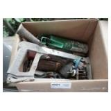 BOX OF TOOLS, FASTENERS, GUN CLEANING KIT, AND MORE