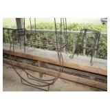 OUTDOOR METAL FRAME PLANTER STANDS, TABLE, AND LARGE ROUND VINE FRAME