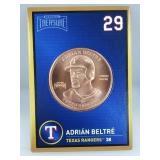1 oz .999 Copper Adrián Beltré - Texas Rangers