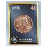 1 oz .999 Copper Justin Bour - Miami Marlins