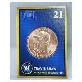 1 oz .999 Copper Travis Shaw - Milwaukee Brewers