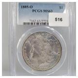 PCGS 1885-O MS63 90% Silver Morgan $1 Dollar