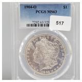 PCGS 1904-O MS63 90% Silver Morgan $1 Dollar