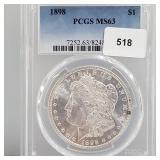 PCGS 1898 MS63 90% Silver Morgan $1 Dollar