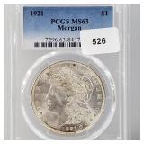 PCGS 1921 MS63 90% Silver Morgan $1 Dollar