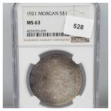 NGC 1921 MS63 90% Silver Morgan $1 Dollar