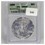ICG 1988 MS69 $1 Dollar Silver Eagle