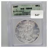 ICG 1987 MS69 $1 Dollar Silver Eagle