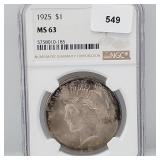 NGC 1925 MS63 90% Silver Peace $1 Dollar