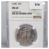 NGC 1945 MS64 Walking Liberty Half $1 Dollar