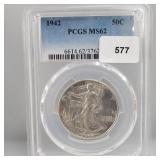 PCGS 1942 MS62 Walking Liberty Half $1 Dollar