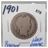 1901 90% Silver Barber Half $1 Dollar