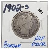 1902-S 90% Silver Barber Half $1 Dollar