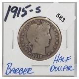 1915-S 90% Silver Barber Half $1 Dollar