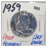 1959 Proof 90% Silver Franklin Half $1 Dollar