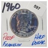 1960 Proof 90% Silver Franklin Half $1 Dollar
