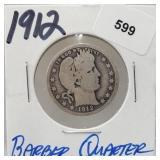 1912 90% Silver Barber Quarter 25 Cents