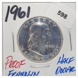 1961 Proof 90% Silver Franklin Half $1 Dollar
