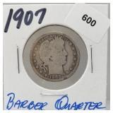 1907 90% Silver Barber Quarter 25 Cents