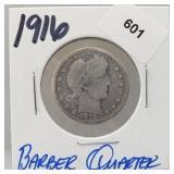 1916 90% Silver Barber Quarter 25 Cents