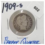 1909-S 90% Silver Barber Quarter 25 Cents