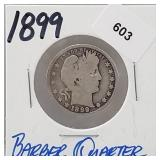 1899 90% Silver Barber Quarter 25 Cents