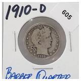 1910-D 90% Silver Barber Quarter 25 Cents