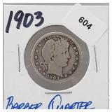 1903 90% Silver Barber Quarter 25 Cents