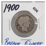 1900 90% Silver Barber Quarter 25 Cents