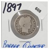 1897 90% Silver Barber Quarter 25 Cents