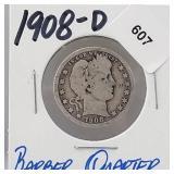 1908-D 90% Silver Barber Quarter 25 Cents