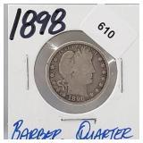 1898 90% Silver Barber Quarter 25 Cents