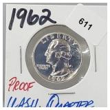 1962 Proof 90% Silver Wash Quarter 25 Cents