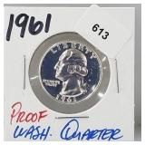 1961 Proof 90% Silver Wash Quarter 25 Cents
