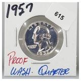 1957 Proof 90% Silver Wash Quarter 25 Cents