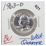 1963-D BU 90% Silver Wash Quarter 25 Cents