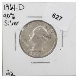 1964-D 90% Silver Wash Quarter 25 Cents