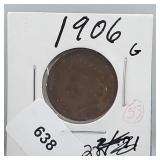 1906 Indian Head Penny One Cent