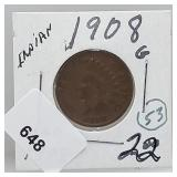 1908 Indian Head Penny One Cent