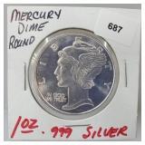 1oz .999 Silver Mercury Dime Round